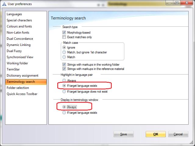 Terminology optimal settings for the translator
