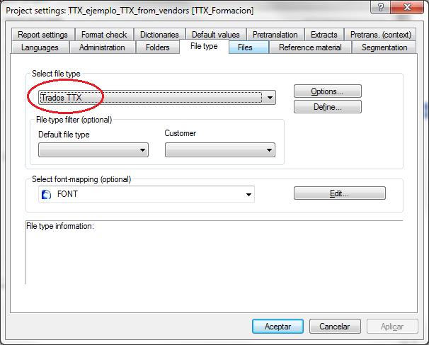 Select file type Trados TTX