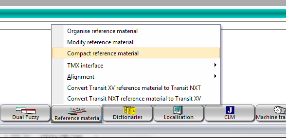 Launch the 'compact reference material' dialog