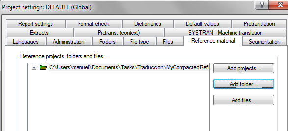 Adding the compacted files as reference material to the project
