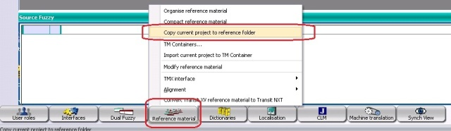 Copy current project to reference folder window