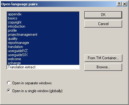 Open files in global view