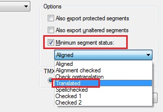 Export segments with minimum segment status
