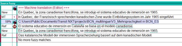 MT translation proposal and fuzzy match