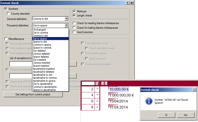 Number format check options and warning message